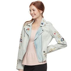 Juniors' Candie's® Embroidered Jean Moto Jacket