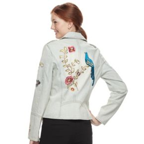 Juniors' Candies® Embroidered Denim Moto Jacket