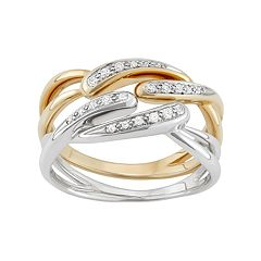 10k Gold & Sterling Silver 1/8 Carat T.W. Diamond Crisscross Stack Ring Set