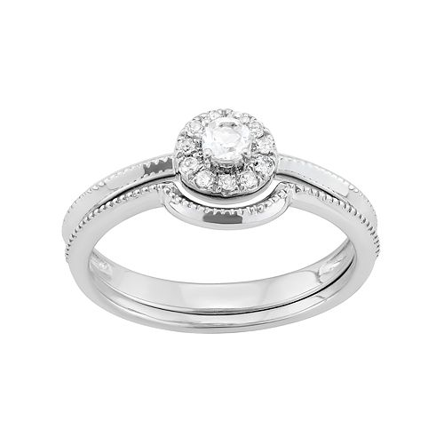 Sterling Silver 1/4 Carat T.W. Diamond Halo Engagement Ring Set