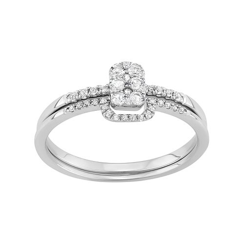 Sterling Silver 1/3 Carat T.W. Diamond Cluster Engagement Ring Set