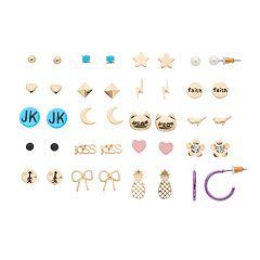 Mudd® 'JK,' Cat & Pineapple Nickel Free Stud Earring Set