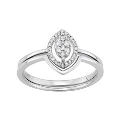 Sterling Silver 1/6 Carat T.W. Diamond Cluster Marquise Engagement Ring Set