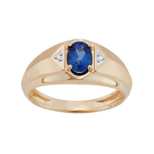 Men's 10k Gold Lab-Created Sapphire & Diamond Accent Ring