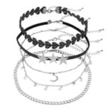 Mudd® Triple Star & Crescent Pendant Choker Necklace Set