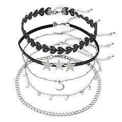 Mudd® Triple Star & Crescent Pendant Choker Necklace Set