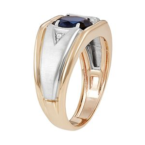 Men's Two Tone 10k Gold Lab-Created Sapphire & Diamond Accent Ring