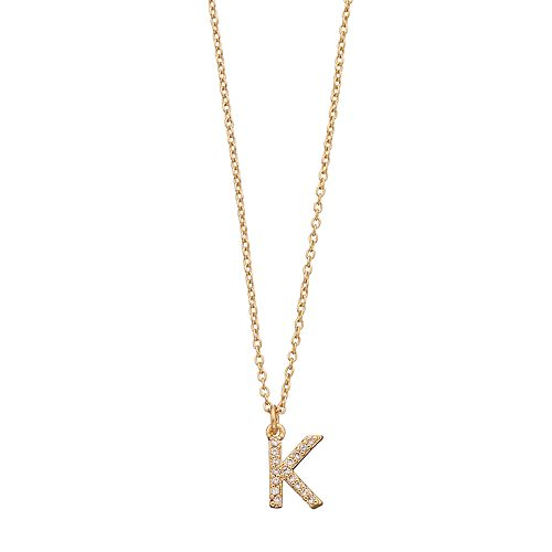 LC Lauren Conrad Pave Monogram Pendant Necklace