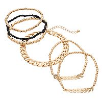 Mudd® Chevron & Beaded Stretch Bracelet Set