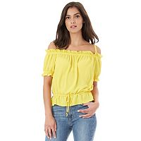 Juniors' IZ Byer Ruffle Off-The-Shoulder Top