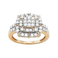 10k Gold 1 Carat T.W. Diamond Cluster Ring