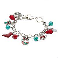 Poinsettia, Snowman, Stocking & Wreath Charm Toggle Bracelet