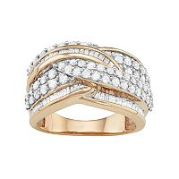 10k Gold 2 Carat T.W. Diamond Wave Ring