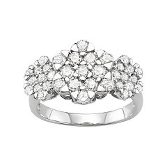 10k White Gold 2 Carat T.W. Diamond Floral Ring