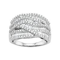 10k White Gold 1 1/4 Carat T.W. Diamond Wave Ring