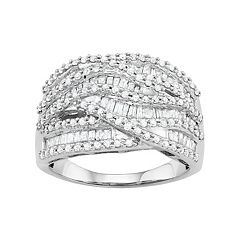 10k White Gold 1 1/4 Carat T.W. Diamond Wave Ring