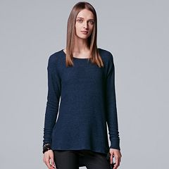 Petite Simply Vera Vera Wang Lace-Up Scoopneck Top