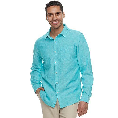 404429c5b0697a Men's Marc Anthony Slim-Fit Linen-Blend Stretch Button-Down Shirt