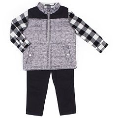 Toddler Boy Little Lad 3 pc Quilted Vest, Shirt & Pants Set