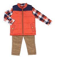Toddler Boy Little Lad 3 pc Quilted Vest, Shirt & Pants Set