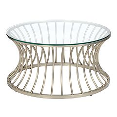 Madison Park Clarita Glass Top Coffee Table