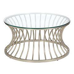 Madison Park Clarita Glass Top Coffee Table