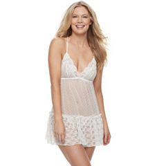Women's Apt. 9® Tiered Lace Babydoll & Thong Lingerie Set