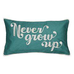Spencer Home Decor 'Never Grow Up' Oblong Throw Pillow