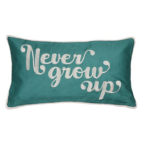"Spencer Home Decor ""Never Grow Up"" Oblong Throw Pillow"