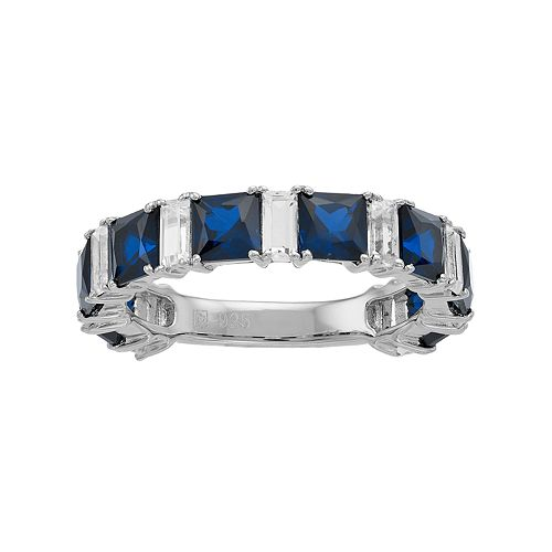 Sterling Silver Lab-Created Blue & White Sapphire Anniversary Band