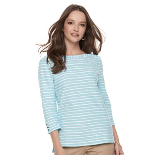 Women's Croft & Barrow® Striped Button Sleeve Tee by Croft & Barrow