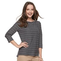 Women's Croft & Barrow® Striped Button Sleeve Tee
