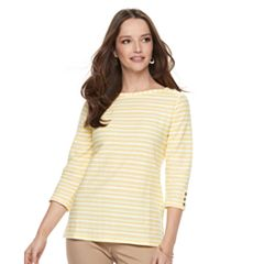 Women's Croft & Barrow® Striped Button Sleeve Tee