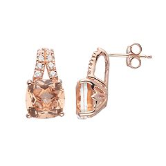 14k Rose Gold Over Silver Simulated Morganite & Lab-Created White Sapphire Drop Earrings