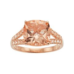 14k Rose Gold Over Silver Simulated Morganite Split Shank Ring