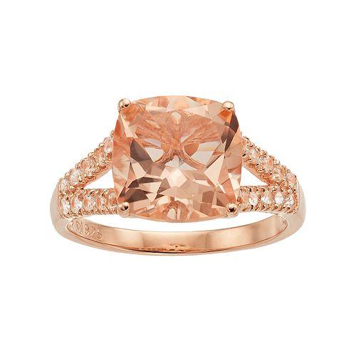 14k Rose Gold Over Silver Simulated Morganite Split Shank Ring