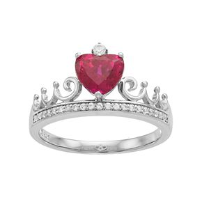 Sterling Silver Lab-Created Ruby Heart Crown Ring