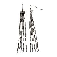 Beaded Fringe Nickel Free Linear Earrings
