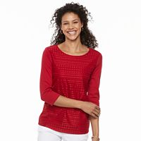Women's Croft & Barrow® Lace-Front Scoopneck Tee