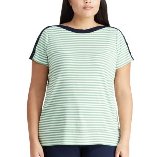 Plus Size Chaps Stripe Lace-Up Top