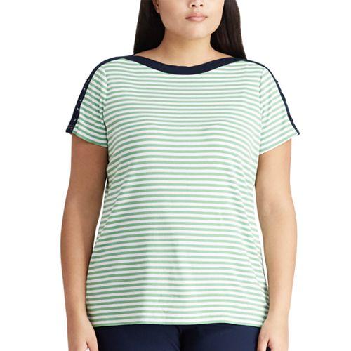 Plus Size Chaps Stripe Lace-Up Top