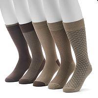 Men's Croft & Barrow® 4-pack + 1 Bonus Opticool Patterned Crew Socks