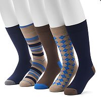 Men's Croft & Barrow® 4-pack + 1 Bonus Opticool Patterned Crew Socks