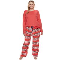 Plus Size SONOMA Goods for Life™ Pajamas: Knit Top & Microfleece Pants 2-Piece PJ Set