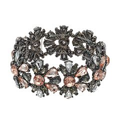 Pink Stone Cluster Flower Stretch Bracelet