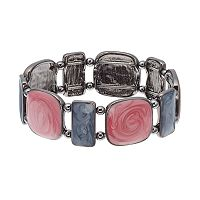 Swirling Inlay Square Stretch Bracelet