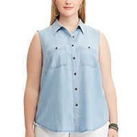Plus Size Chaps Chambray Sleeveless Top