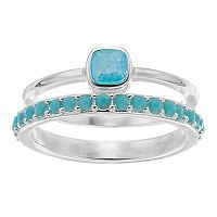LC Lauren Conrad Aqua Stone Ring Set