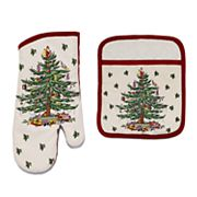 Spode Christmas Tree Oven Mitt & Pot Holder Set