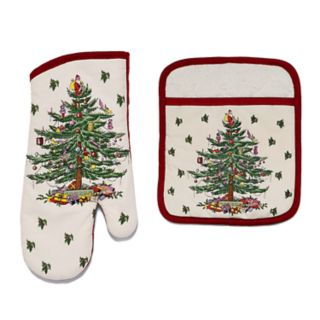 Spode Christmas Tree Oven Mitt & Pot Holder Set